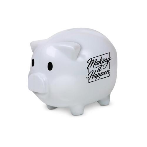 Making it Happen Square Piggie Bank White