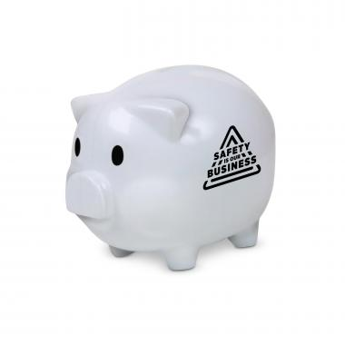 Safety is Our Business Piggie Bank White