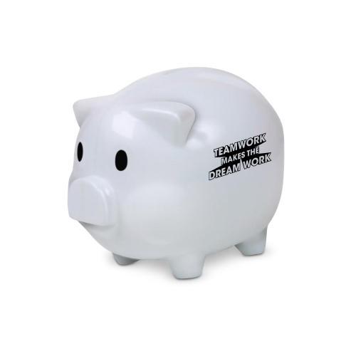 Teamwork Dream Work Piggie Bank White