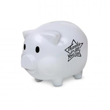 Thanks for All You Do Star Piggie Bank White