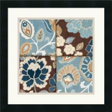 Alain Pelletier Patchwork Motif Blue I Office Art