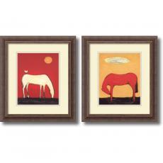 Karen Bezuidenhout Warm Pop Horse - set of 2 Office Art