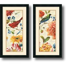 Lisa Audit Rainbow Garden Cream Panel - set of 2 Office Art