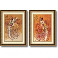 People - Chinese Wealth & Prosperity - set of 2 Office Art