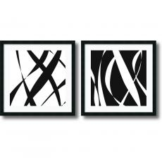 Geometric - Denise Duplock Fistral Nero Blanco - set of 2 Office Art