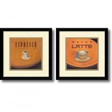 Jillian David Design Espresso and Mocha Latte: Black Satin - set of 2 Office Art