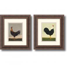 Warren Kimble Facing Roosters - set of 2 Office Art