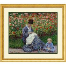 Claude Monet Camille Monet with a Child in Painter's Garden at Argenteuil, 1875 Office Art