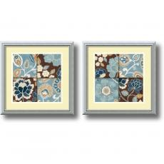 Flowers & Plants - Alain Pelletier Patchwork Motif - set of 2 Office Art