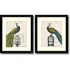 All Motivational Posters - Sue Schlabach Peacock Birdcage - set of 2 Office Art