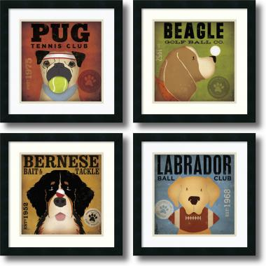 Stephen Fowler Sport Dogs - set of 4 Office Art