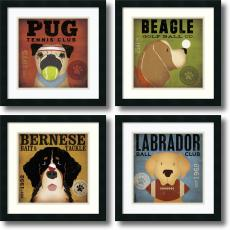 Stephen Fowler - Stephen Fowler Sport Dogs - set of 4 Office Art