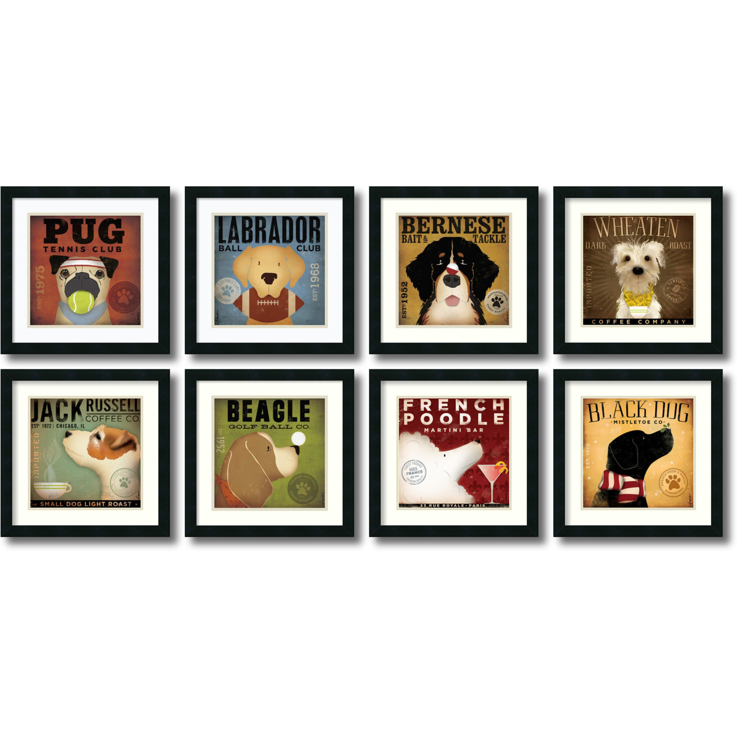 Stephen Fowler Stephen Fowler Dogs - set of 8 Office Art