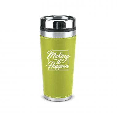 Making it Happen Square 16oz Leatherette Tumbler
