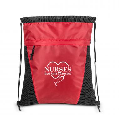 Nurses Touch Hearts Value Cinch Backpack