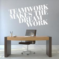 Vinyl Wall Decals - Teamwork Dream Work Block Vinyl Wall Decal