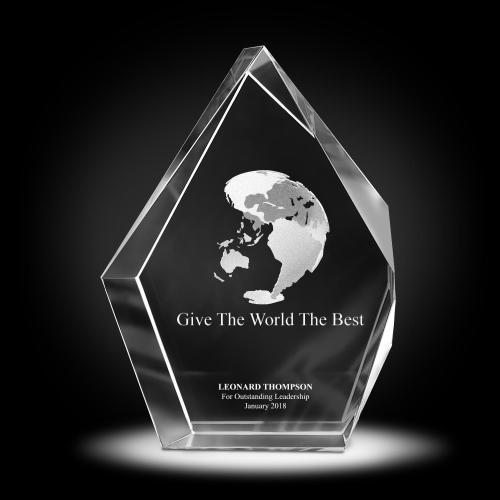 Globe 3D Crystal Diamond Award