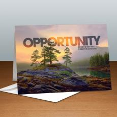 Modern Motivational Cards - Opportunity Mountain Lake Infinity Edge Greeting Cards