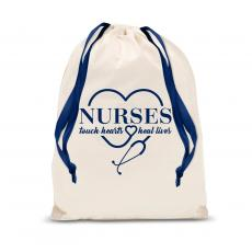 Nurses Gifts - Nurses Touch Hearts Drawstring Gift Bag