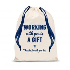 Gift Accessories - Working With You Thanks Drawstring Gift Bag