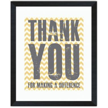 Thank You Difference Yellow Inspirational Art