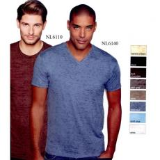 T-Shirts - Next Level Apparel<sup>®</sup> - L;M;S;XL -  Men's burnout V poly/cotton jersey t-shirt. Blank
