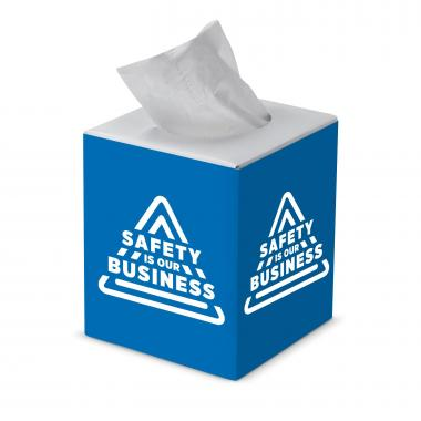 Safety is Our Business Cube Tissue Box