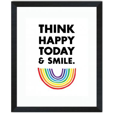 Think Happy Inspirational Art