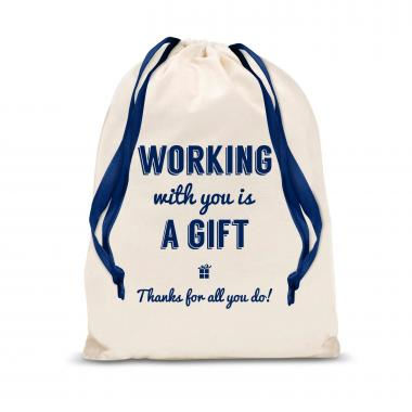 Working With You is a Gift (Thanks) Small Drawstring Gift Bag
