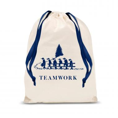 Teamwork Penguins Large Drawstring Gift Bag