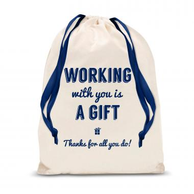Working With You is a Gift (Thanks) Large Drawstring Gift Bag