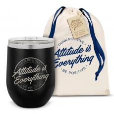 Vacuum Insulated - Attitude is Everything Circle Stainless Steel Stemless Wine Glass