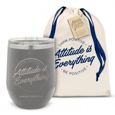 Attitude is Everything Circle Stainless Steel Stemless Wine Glass