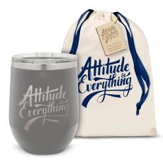 Stemless Wine Tumbler - Attitude is Everything Stainless Steel Stemless Wine Glass