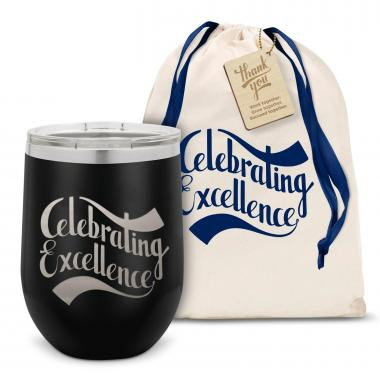 Celebrating Excellence Stainless Steel Stemless Wine Glass