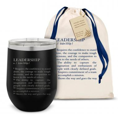 Leadership Definition Stainless Steel Stemless Wine Glass