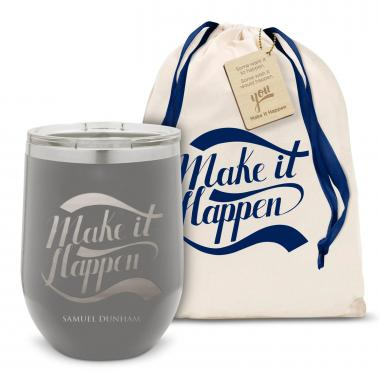 Make it Happen Stainless Steel Stemless Wine Glass