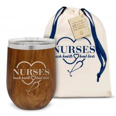 Barware - Nurses Touch Hearts Stainless Steel Stemless Wine Glass