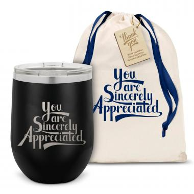 Sincerely Appreciated Stainless Steel Stemless Wine Glass