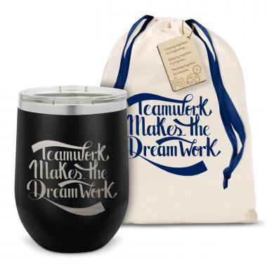 Teamwork Dream Work Script Stainless Steel Stemless Wine Glass