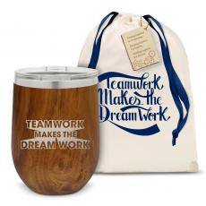 Vacuum Insulated - Teamwork Dream Work Stainless Steel Stemless Wine Glass