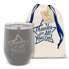 Thank You Gifts - Thanks for All You Do Star Stainless Steel Stemless Wine Glass