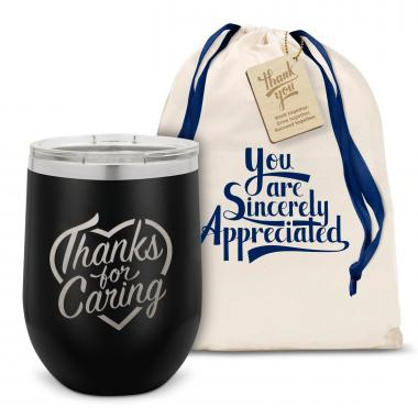 Thanks for Caring Stainless Steel Stemless Wine Glass