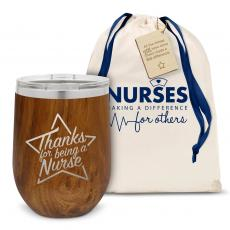 Vacuum Insulated - Thanks Nurse Star Stainless Steel Stemless Wine Glass