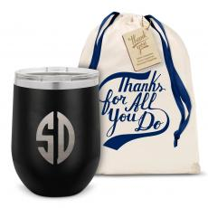 Stemless Wine Tumbler - Monogram Stainless Steel Stemless Wine Glass