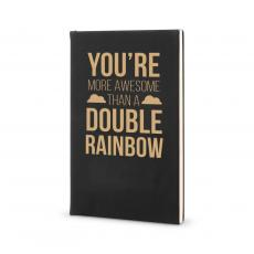 Journal Books - More Awesome than a Double Rainbow - Vegan Leather Journal