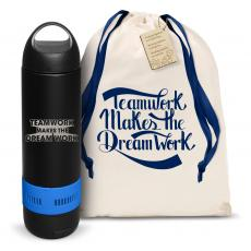 Vacuum Insulated - Teamwork Dream Work 3D Bluetooth Speaker Bottle