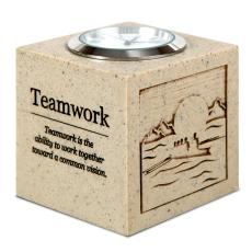 Engraved Clock Awards - Teamwork Cube Desk Clock
