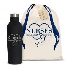 Nurses Gifts - Nurses Touch Hearts 16oz. Stainless Steel Canteen