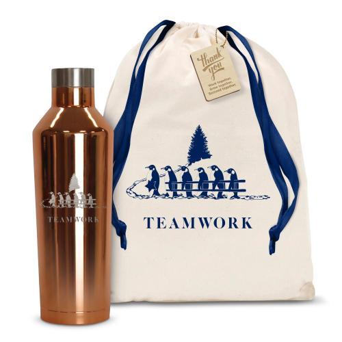 16oz. Stainless Steel Canteen Teamwork Gift Set